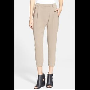 Vince Leather Trim Crossover Cropped Pants